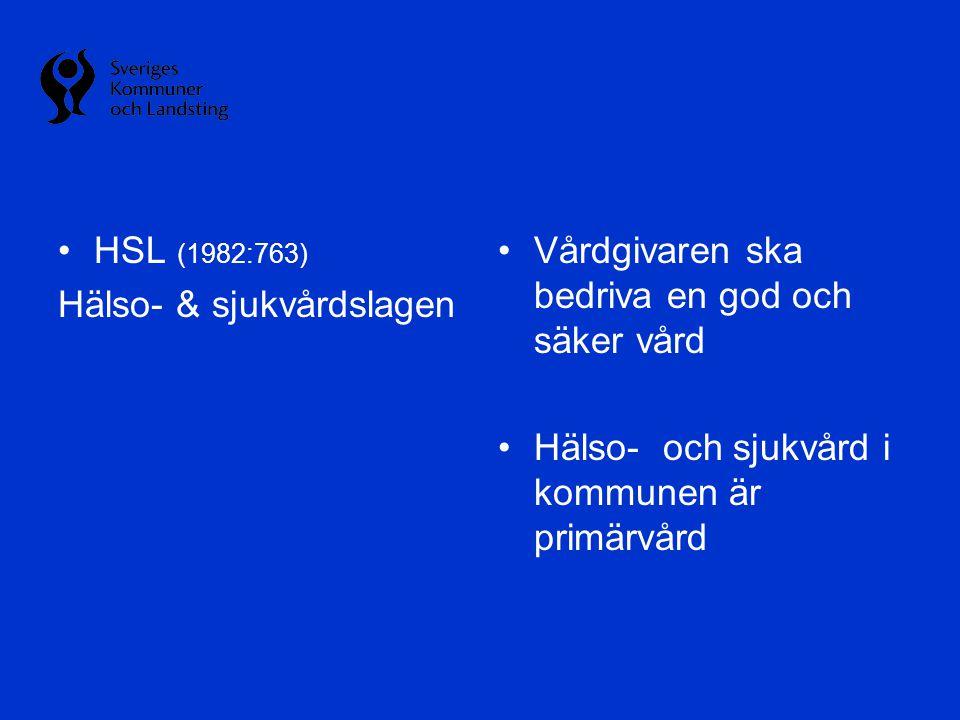 HSL (1982:763) Hälso- & sjukvårdslagen. Vårdgivaren ska bedriva en god och säker vård.