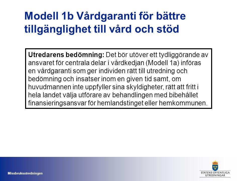 Modell 1b Vårdgaranti för bättre tillgänglighet till vård och stöd