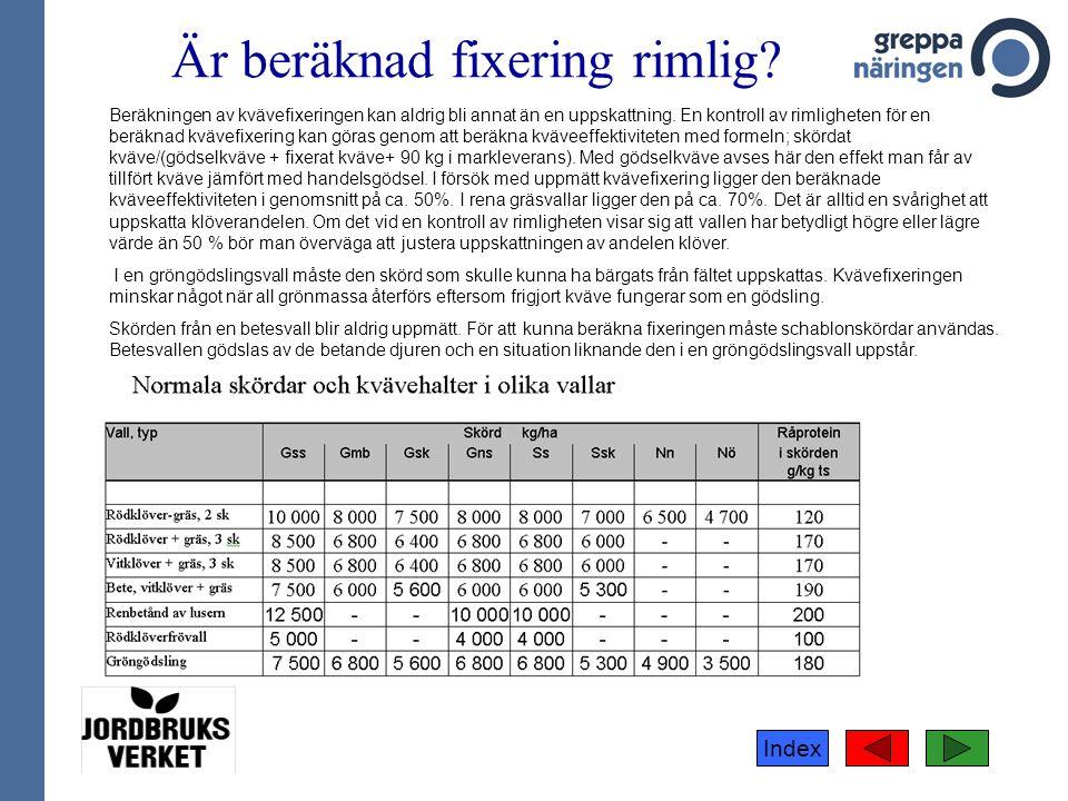 Är beräknad fixering rimlig