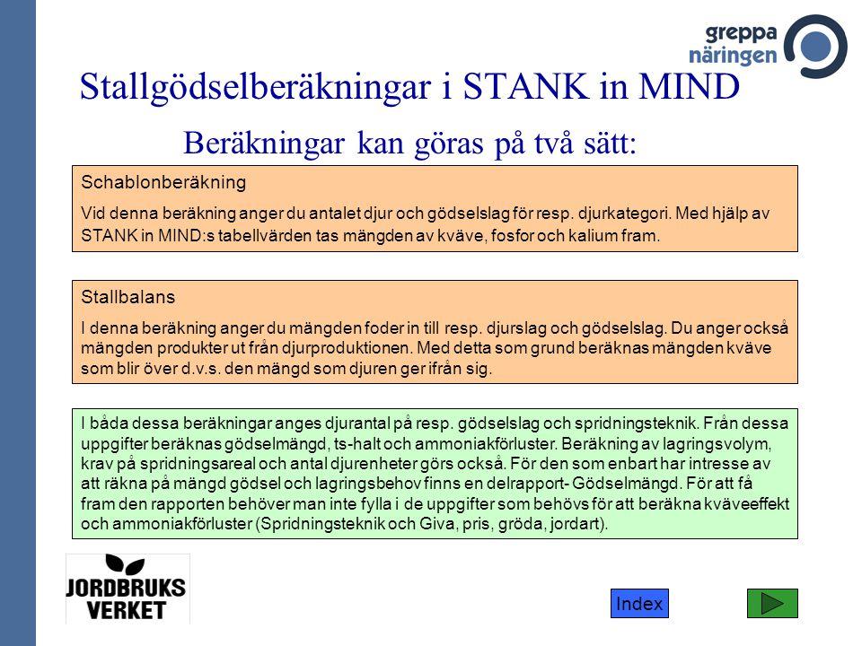 Stallgödselberäkningar i STANK in MIND Beräkningar kan göras på två sätt: