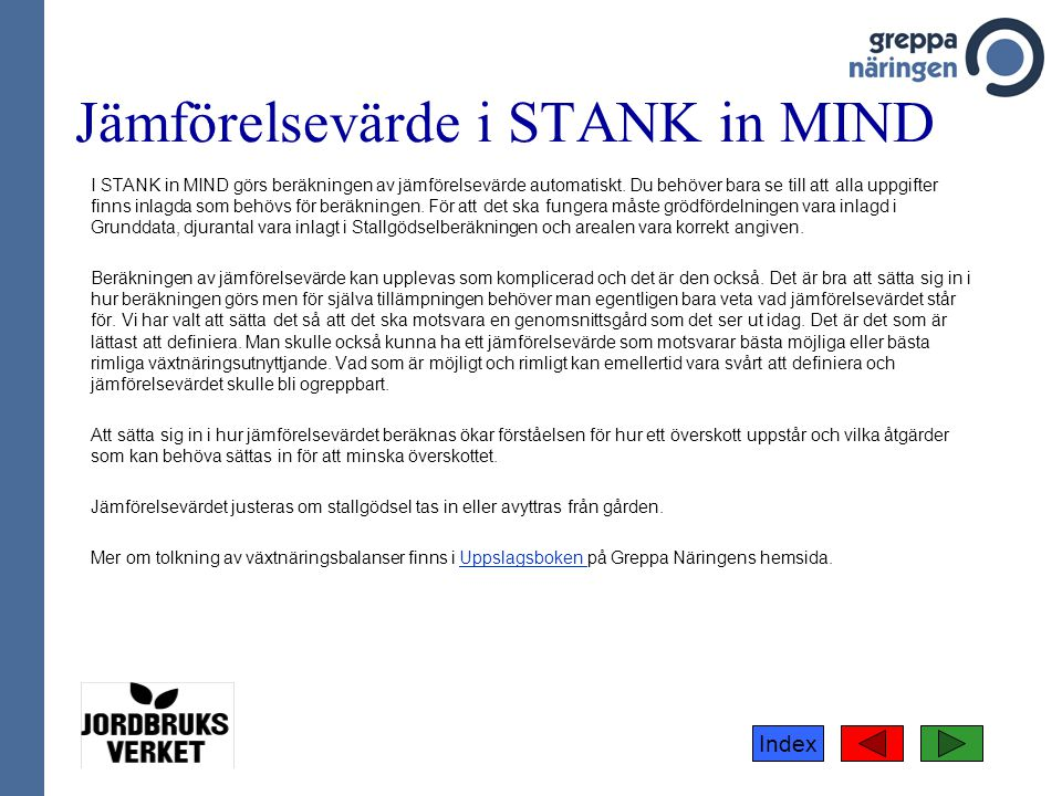Jämförelsevärde i STANK in MIND