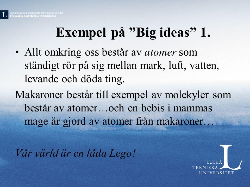 Exempel på Big ideas 1. Allt omkring oss består av atomer som ständigt rör på sig mellan mark, luft, vatten, levande och döda ting.