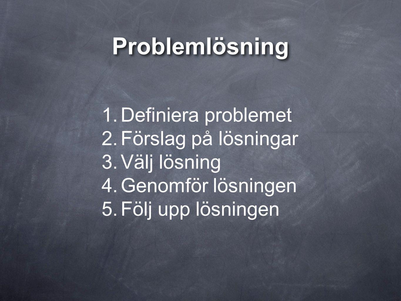 Problemlösning Definiera problemet Förslag på lösningar Välj lösning