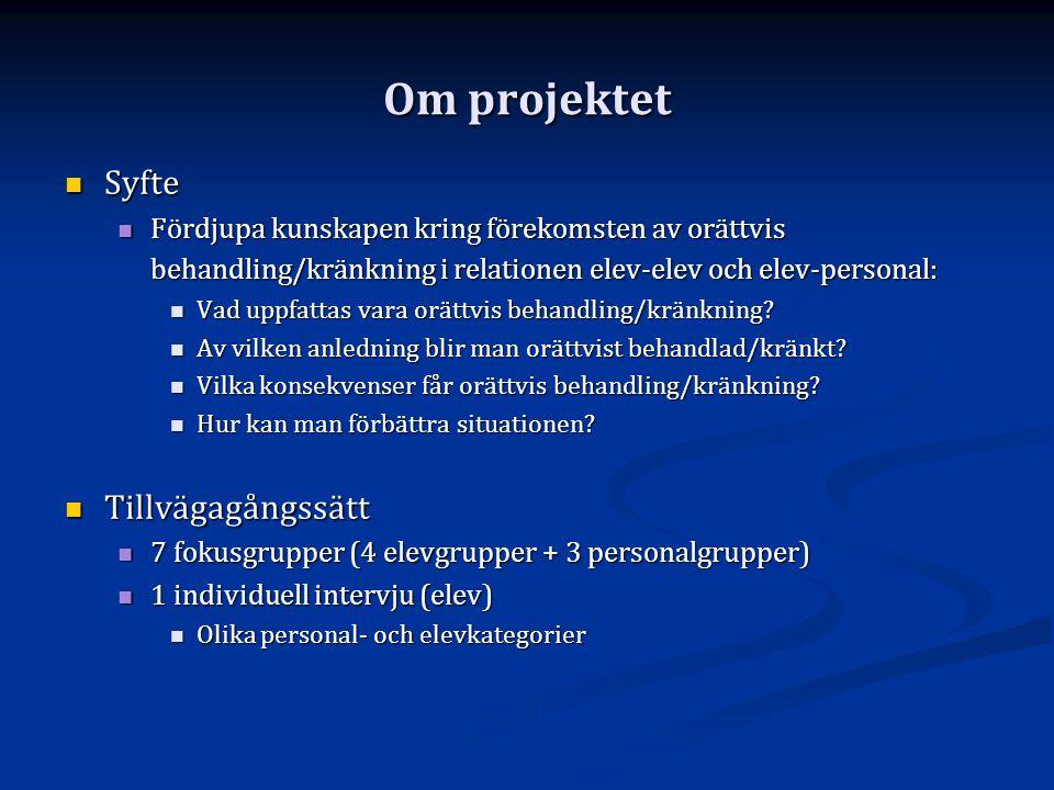 Om projektet Syfte Tillvägagångssätt