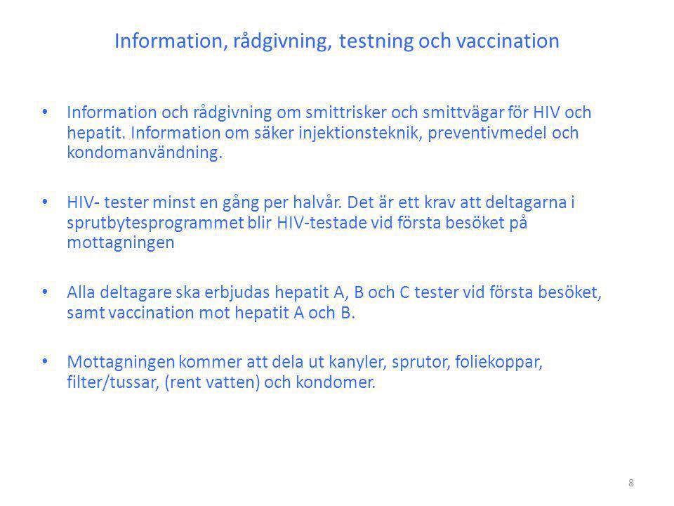 Information, rådgivning, testning och vaccination