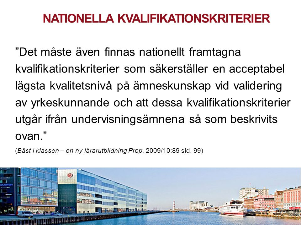 Nationella kvalifikationskriterier
