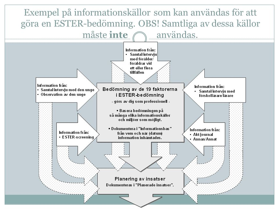 Exempel på informationskällor som kan användas för att göra en ESTER-bedömning.