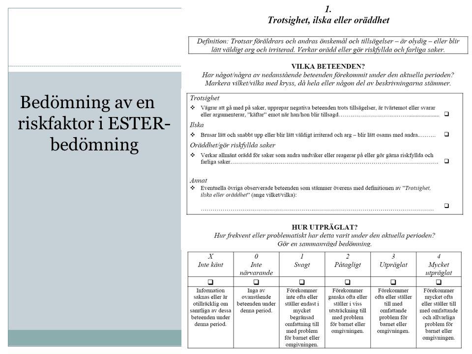 Bedömning av en riskfaktor i ESTER-bedömning