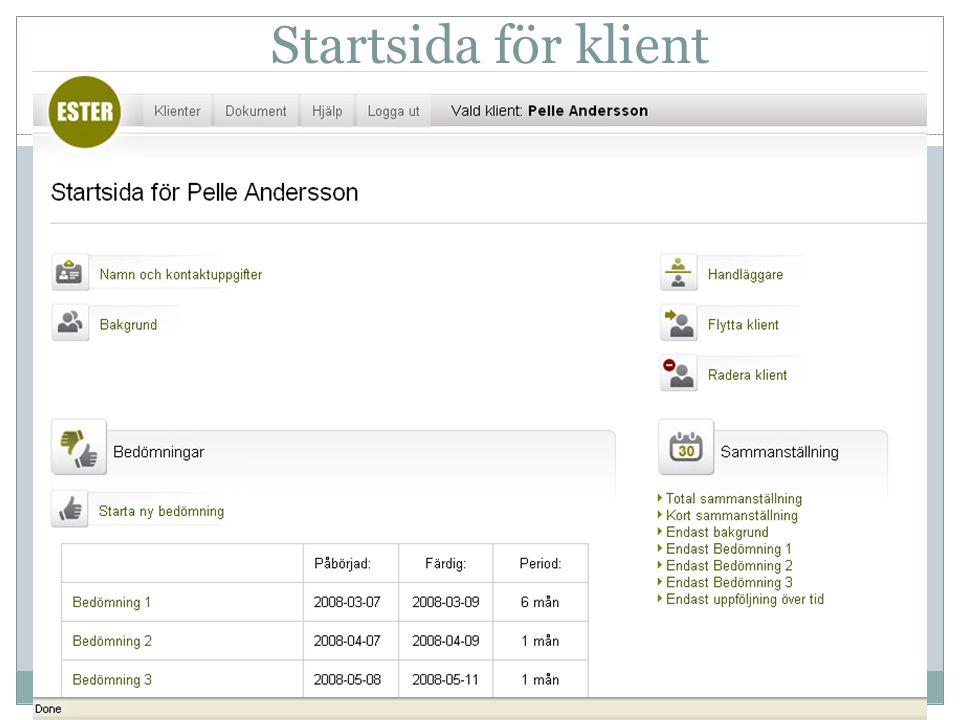 Startsida för klient
