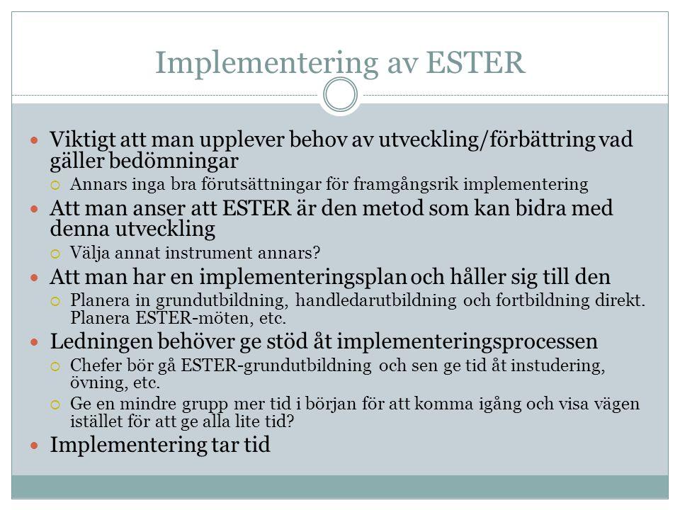 Implementering av ESTER