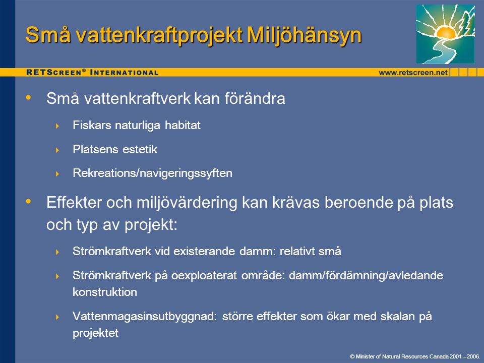 Små vattenkraftprojekt Miljöhänsyn