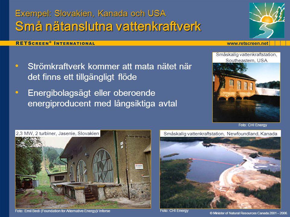 Exempel: Slovakien, Kanada och USA Små nätanslutna vattenkraftverk