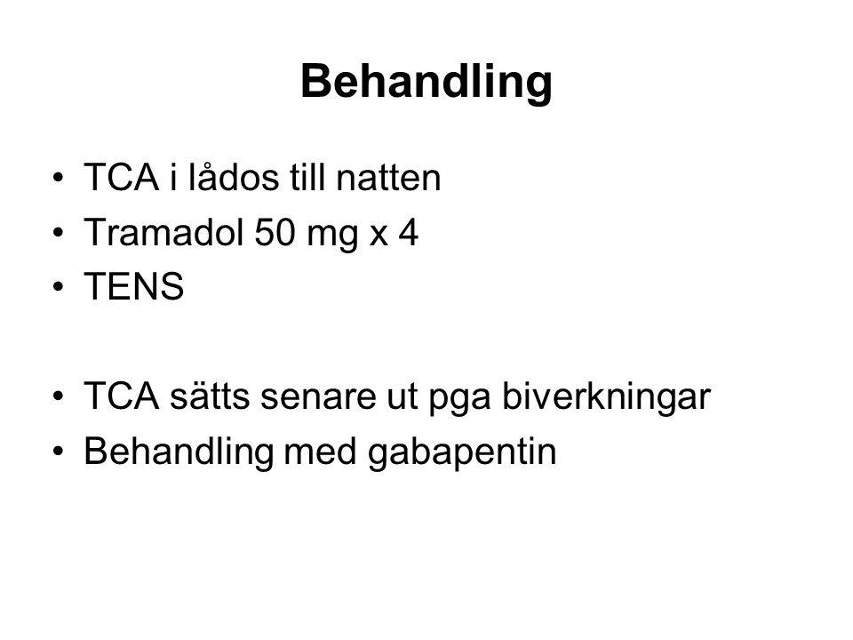 Behandling TCA i lådos till natten Tramadol 50 mg x 4 TENS