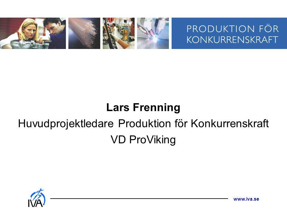 Huvudprojektledare Produktion för Konkurrenskraft