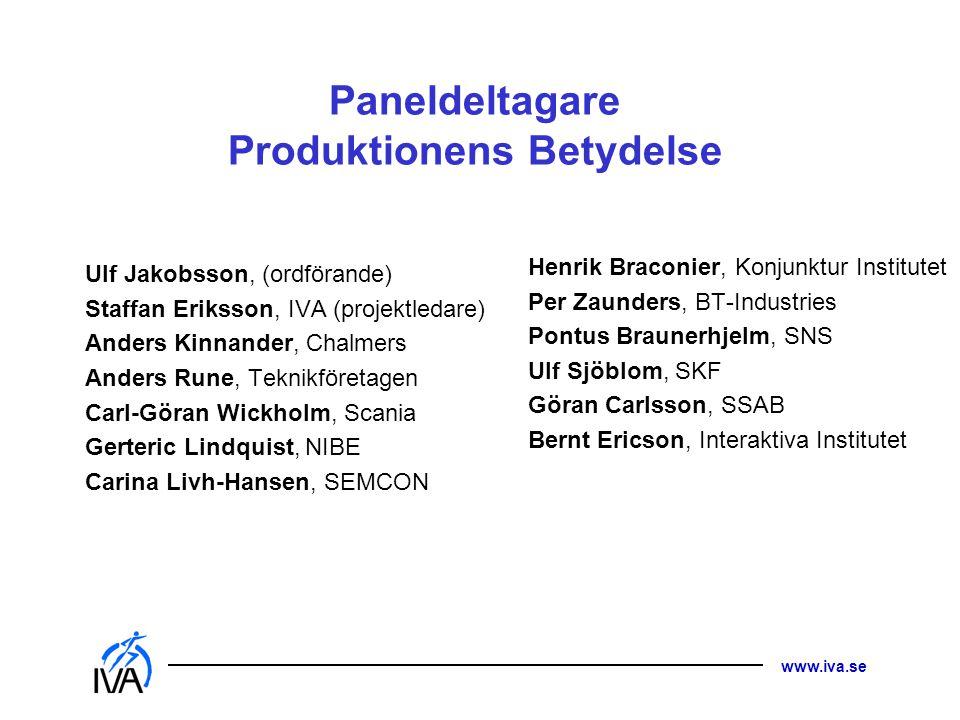 Paneldeltagare Produktionens Betydelse