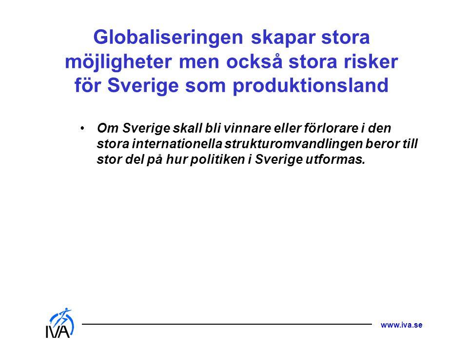 Globaliseringen skapar stora möjligheter men också stora risker för Sverige som produktionsland