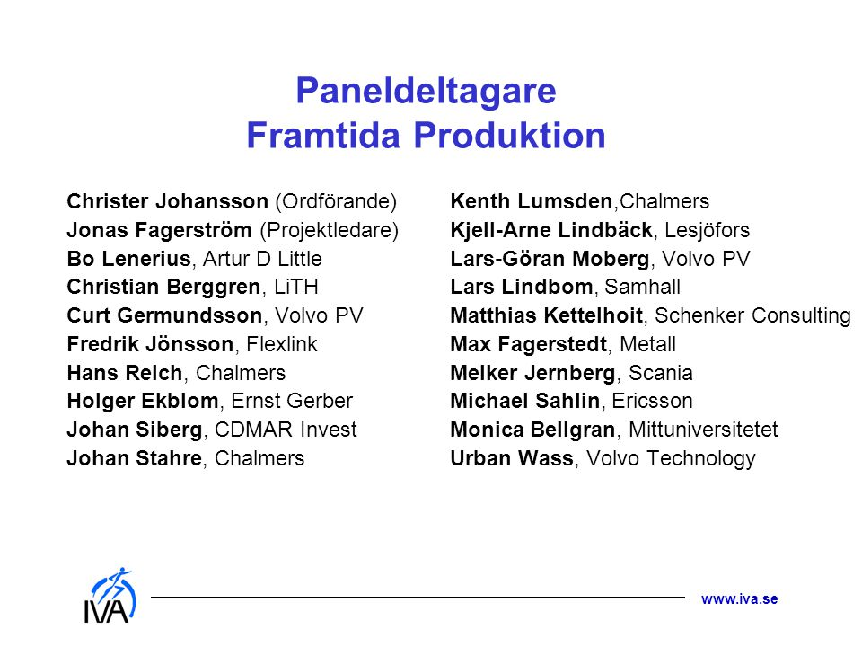 Paneldeltagare Framtida Produktion