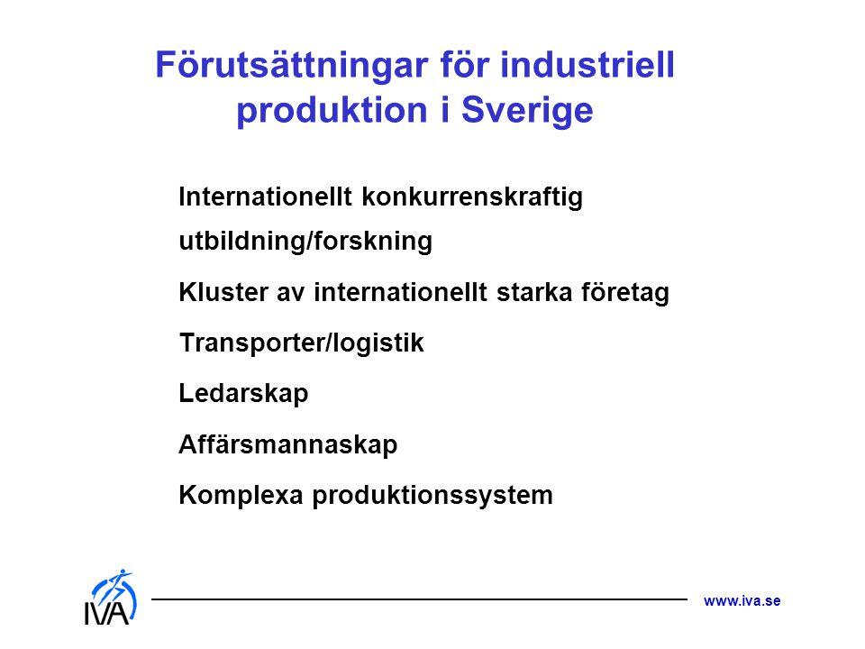 Förutsättningar för industriell produktion i Sverige