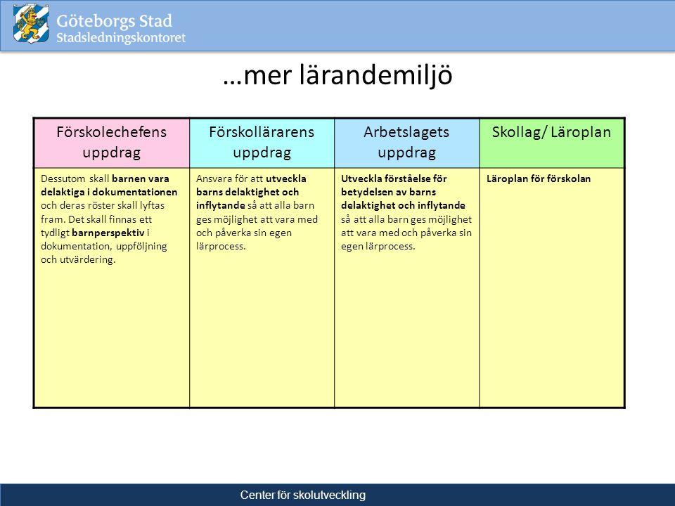 …mer lärandemiljö Förskolechefens uppdrag Förskollärarens uppdrag
