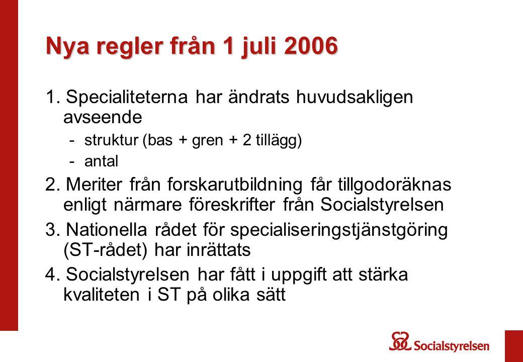 Nya regler från 1 juli 2006 1. Specialiteterna har ändrats huvudsakligen avseende. struktur (bas + gren + 2 tillägg)