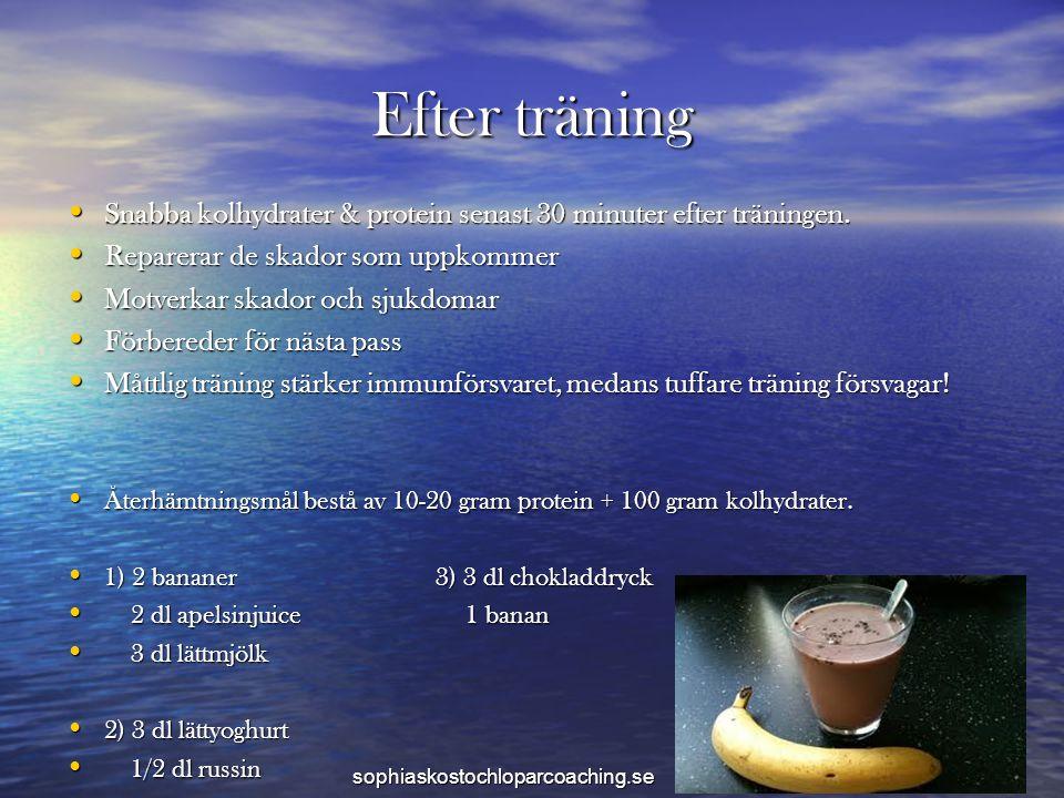 Efter träning Snabba kolhydrater & protein senast 30 minuter efter träningen. Reparerar de skador som uppkommer.