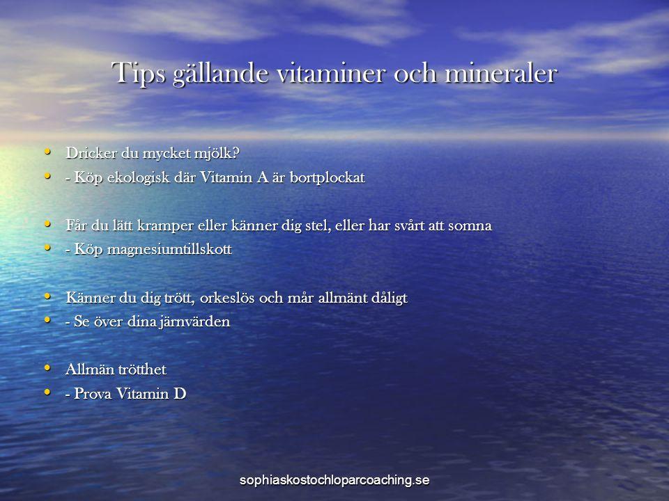 Tips gällande vitaminer och mineraler