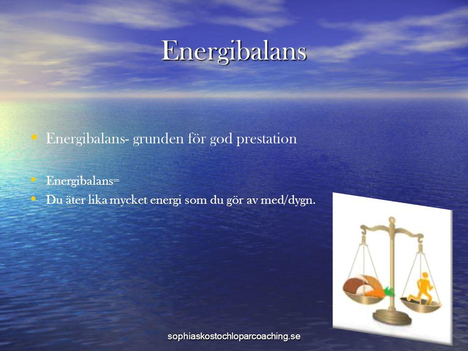 Energibalans Energibalans- grunden för god prestation Energibalans=