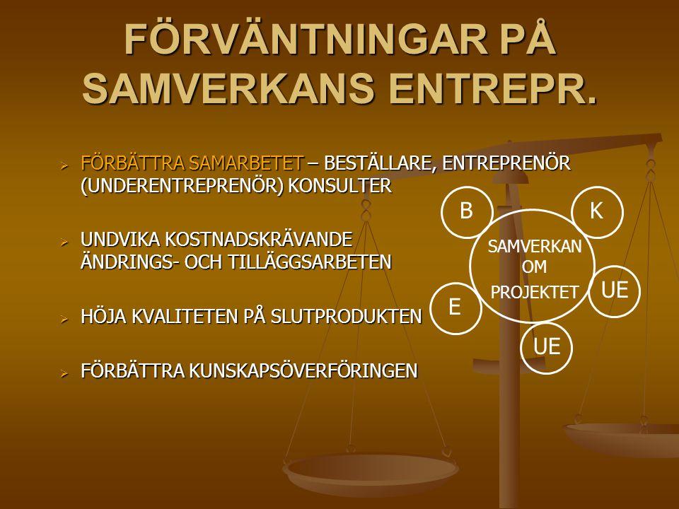 FÖRVÄNTNINGAR PÅ SAMVERKANS ENTREPR.