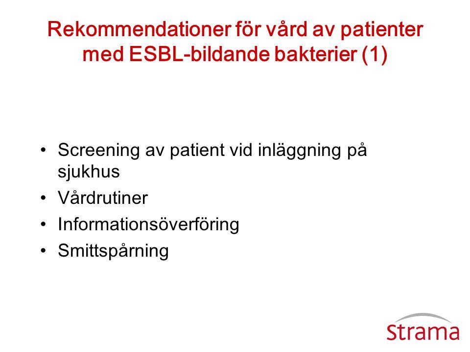 Rekommendationer för vård av patienter med ESBL-bildande bakterier (1)