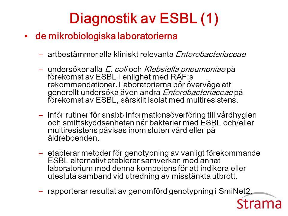 Diagnostik av ESBL (1) de mikrobiologiska laboratorierna