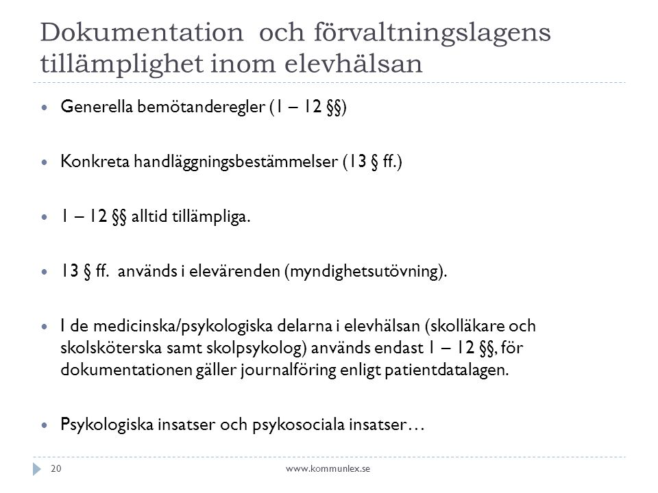 Dokumentation och förvaltningslagens tillämplighet inom elevhälsan