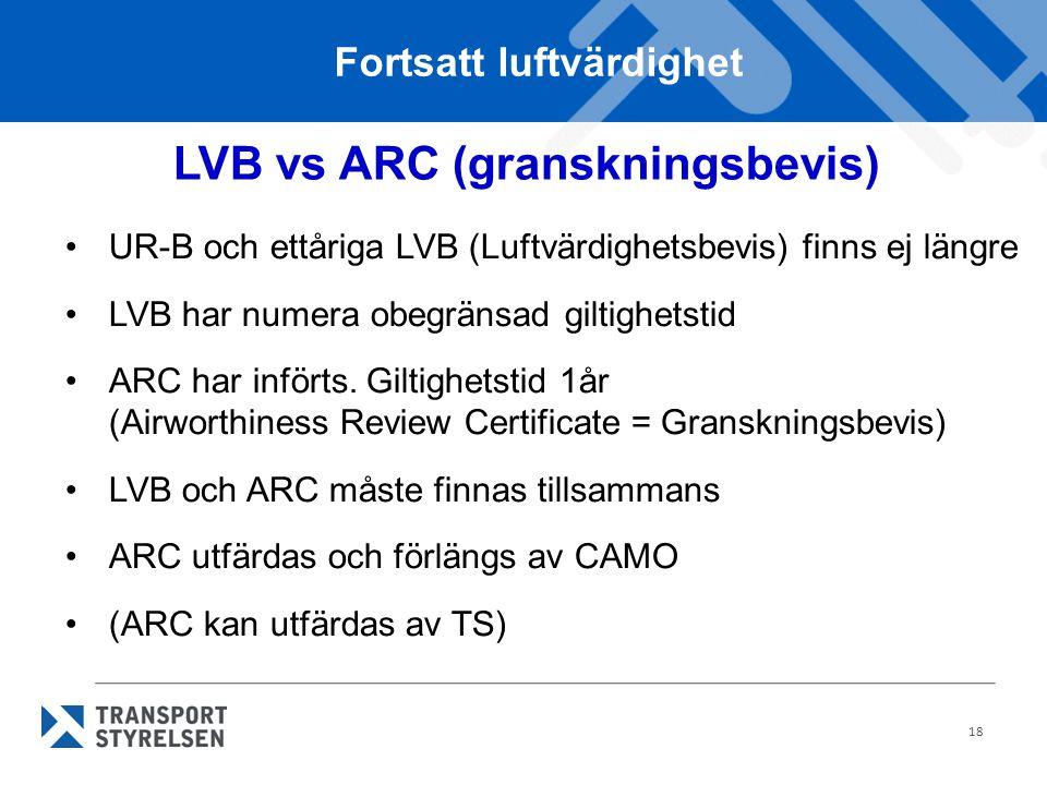 Fortsatt luftvärdighet LVB vs ARC (granskningsbevis)