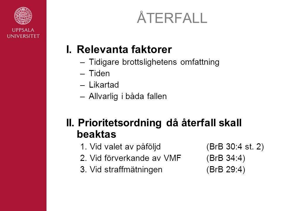 ÅTERFALL I. Relevanta faktorer