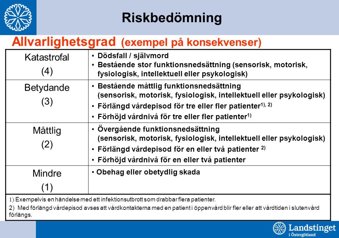 Riskbedömning Allvarlighetsgrad (exempel på konsekvenser) Katastrofal