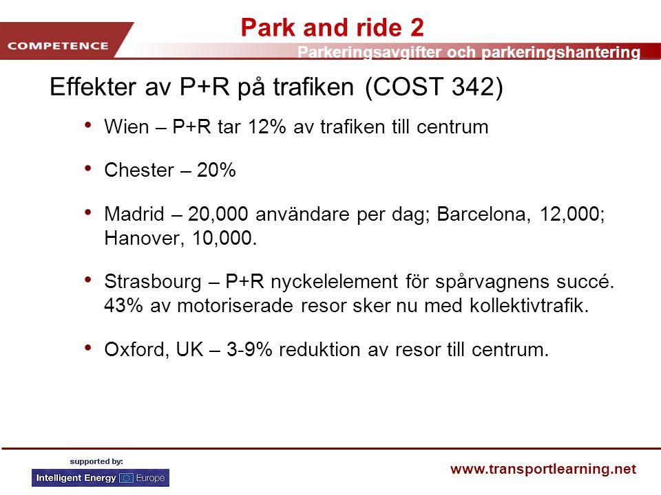 Effekter av P+R på trafiken (COST 342)