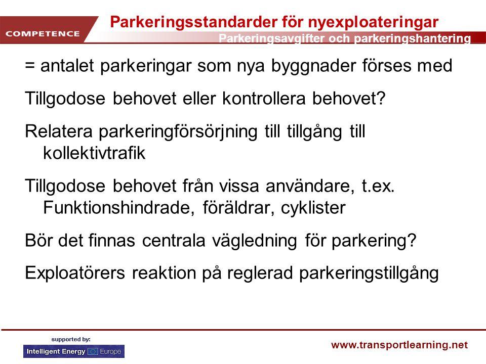 Parkeringsstandarder för nyexploateringar