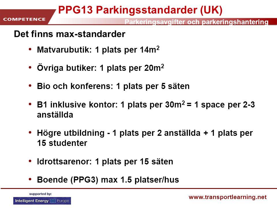 PPG13 Parkingsstandarder (UK)