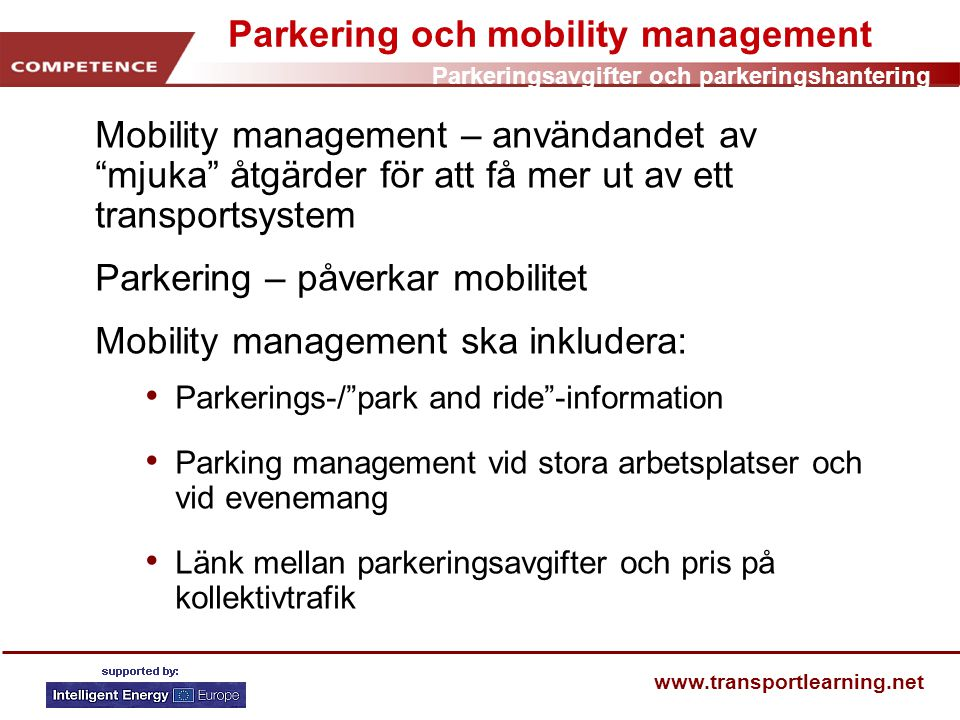 Parkering och mobility management