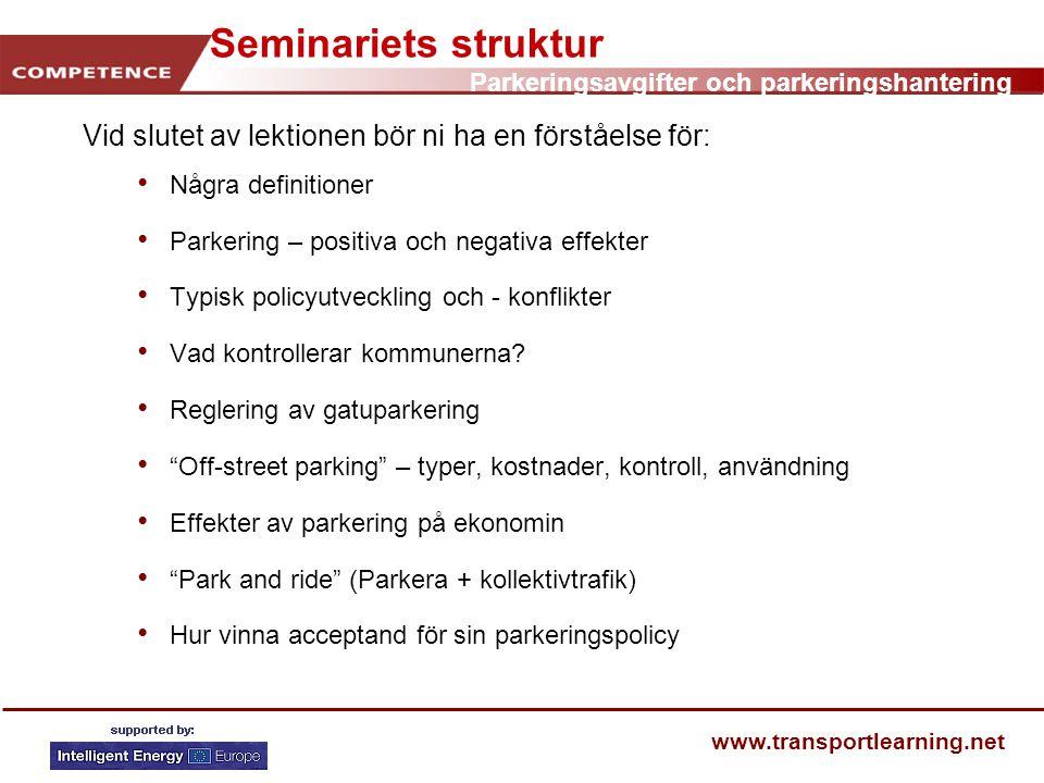 Seminariets struktur Vid slutet av lektionen bör ni ha en förståelse för: Några definitioner. Parkering – positiva och negativa effekter.