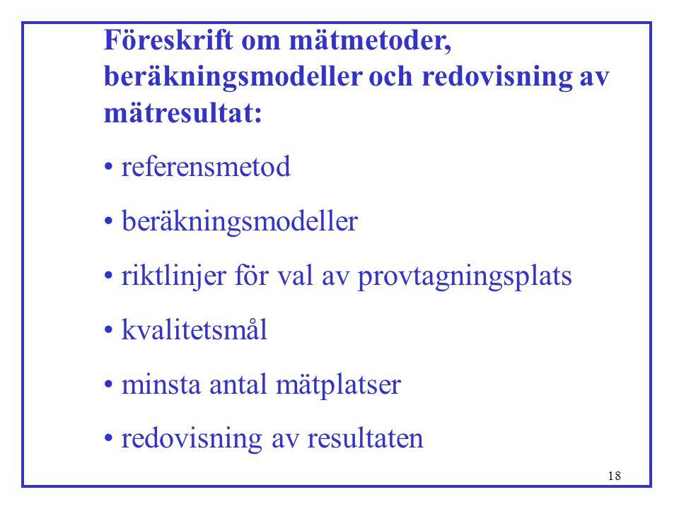 Föreskrift om mätmetoder, beräkningsmodeller och redovisning av mätresultat: