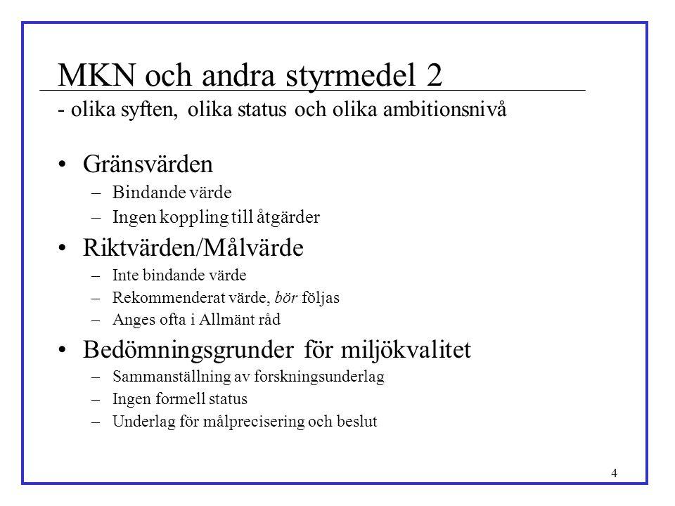 MKN och andra styrmedel 2 - olika syften, olika status och olika ambitionsnivå