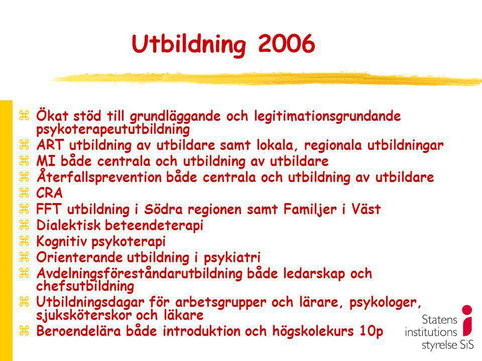 Utbildning 2006 Ökat stöd till grundläggande och legitimationsgrundande psykoterapeututbildning.