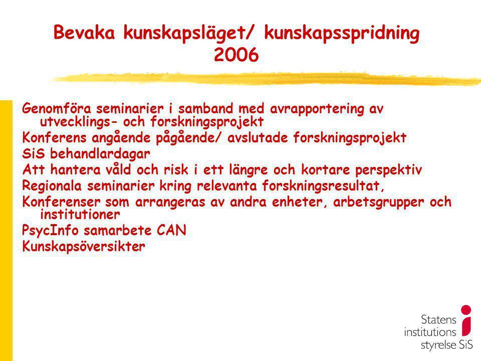Bevaka kunskapsläget/ kunskapsspridning 2006