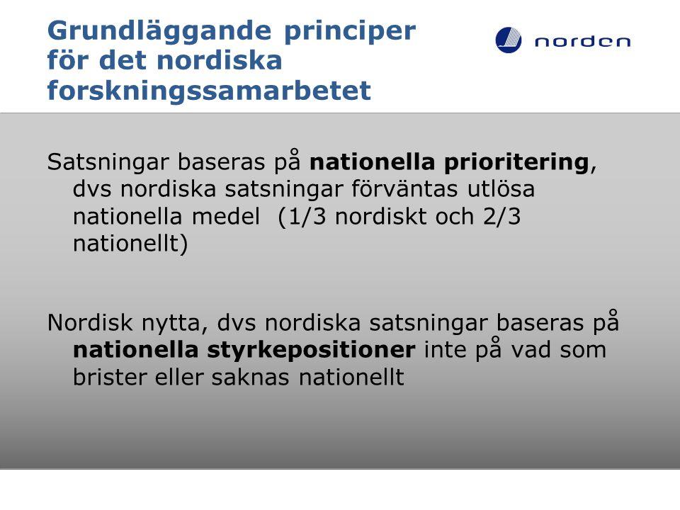 Grundläggande principer för det nordiska forskningssamarbetet