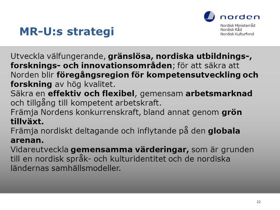 MR-U:s strategi Nordisk Ministerråd Nordisk Råd Nordisk Kulturfond.