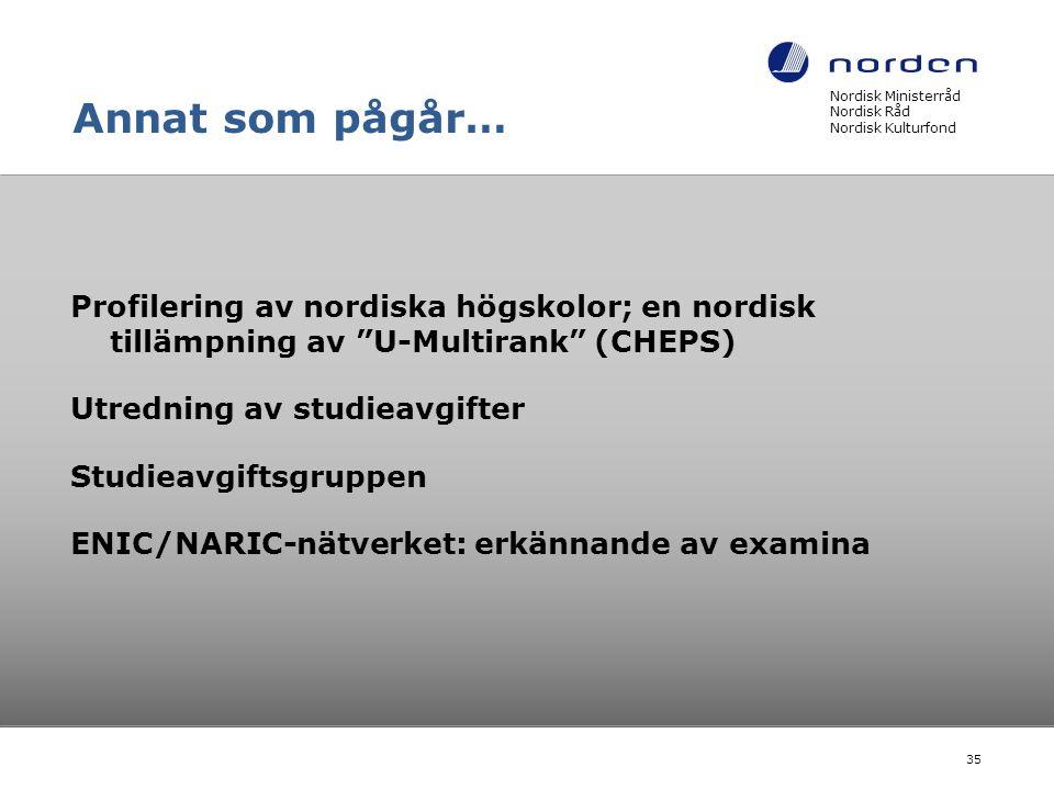 Annat som pågår… Nordisk Ministerråd Nordisk Råd Nordisk Kulturfond.