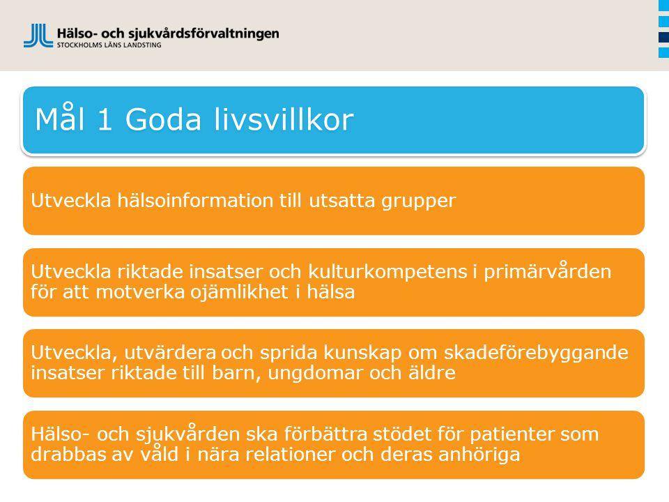 Mål 1 Goda livsvillkor Utveckla hälsoinformation till utsatta grupper