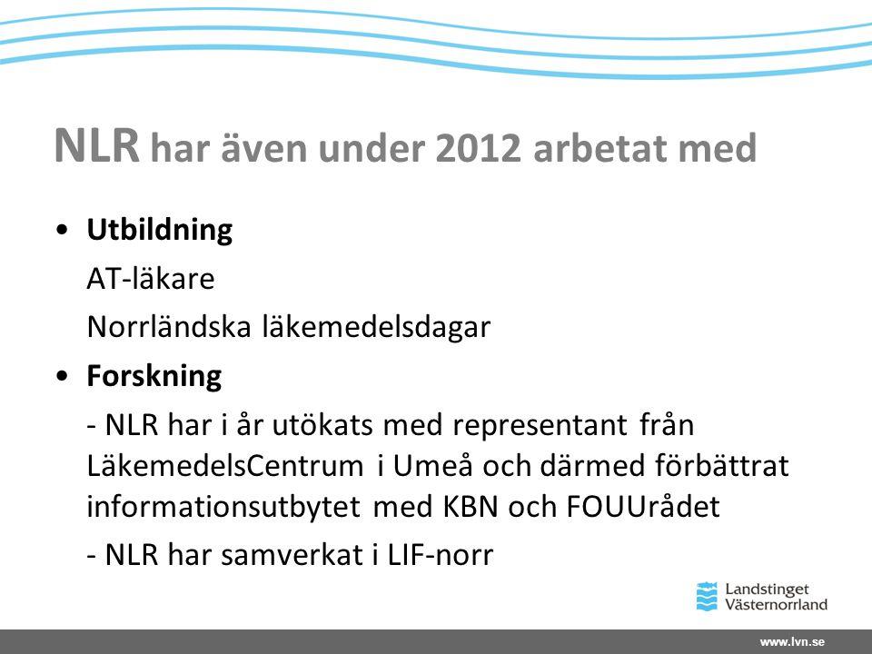NLR har även under 2012 arbetat med