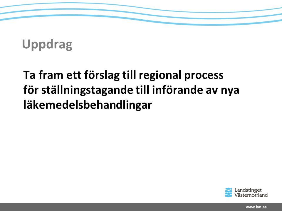 Uppdrag Ta fram ett förslag till regional process för ställningstagande till införande av nya läkemedelsbehandlingar.