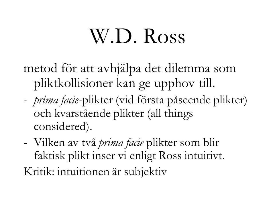 W.D. Ross metod för att avhjälpa det dilemma som pliktkollisioner kan ge upphov till.